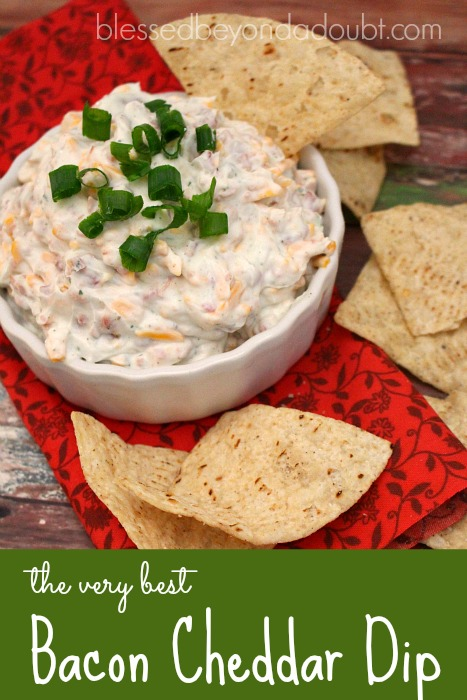 So easy and creamy bacon cheddar dip that's always the hit at a party!