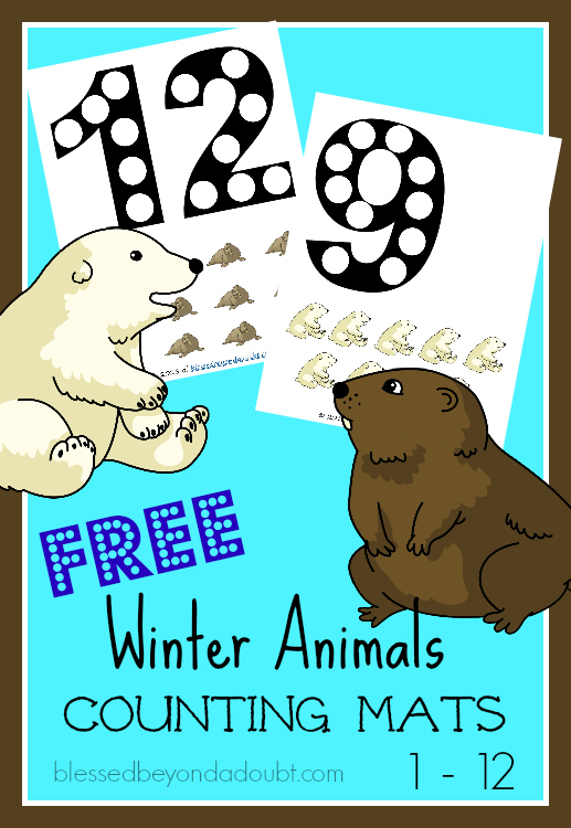 FREE Math Counting Mats with a cute Winter animal theme. The mats go up to 12. Perfect for individual activity.