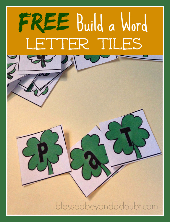 FREE St Patrick's Day letter tiles!
