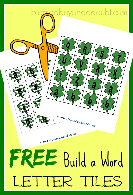 FREE St Patrick's Day letter tiles. Print, Cut, Build a word activity.