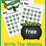 FREE Write The Missing Number Worksheets – Shamrock Edition