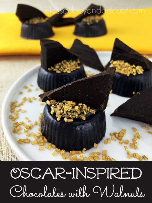 Adorable and festive Oscar-Inspired Chocolates with walnuts. Easy to make.