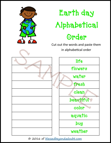 Teach ABC order with this Earth Day ABC order worksheets. A FUN homeschool resource.