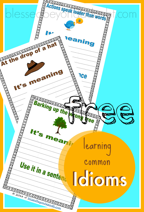 FREE Idioms worksheets! Make an Idiom notebook with these printables.