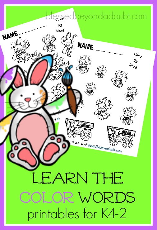 Free Learn the color words printables.
