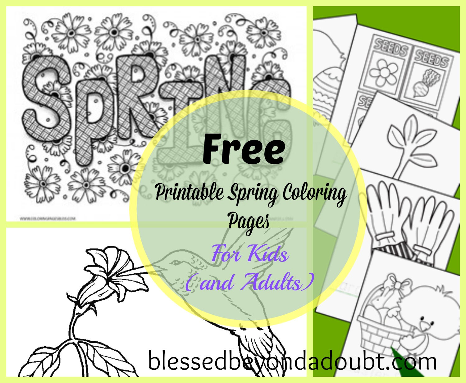 Spring coloring pages for adults free - Picmonkey Collage
