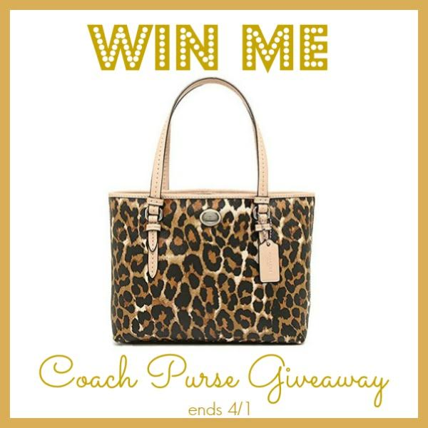 Hurry and enter to win this adorable Coach purse for the spring. Giveaway ends on 4/1!