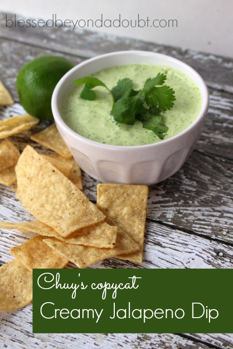 This easy creamy jalapeno dip recipe tastes exactly like Chuy's. I'm in love!