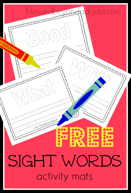 FREE sight word activity mats . My daughter loves to use play doh with them.