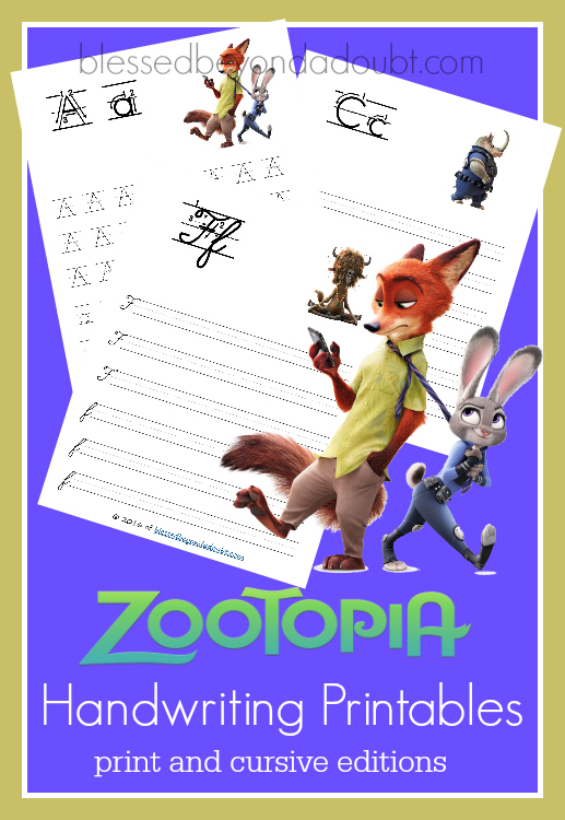 FREE Zootopia handwriting printable sets. The handwriting printables come in print and cursive.