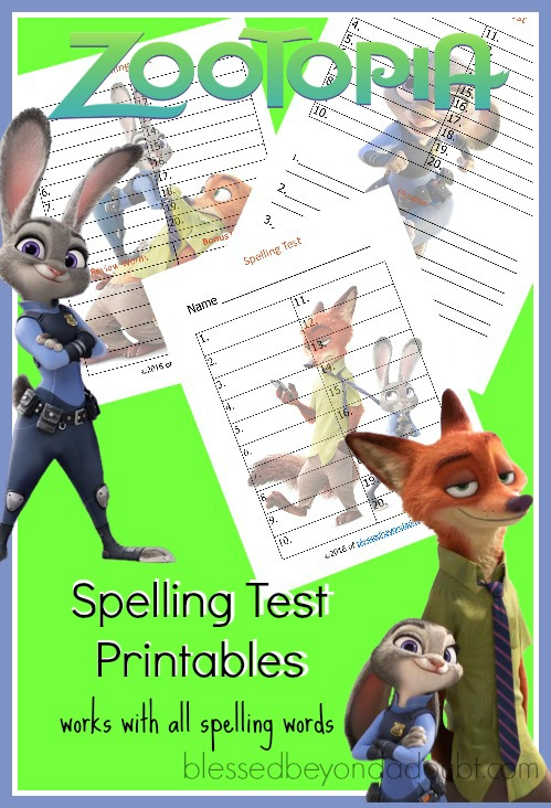 FREE Zootopia spelling test printables. Print these for pretest and tests. Super cute homeschool resources.
