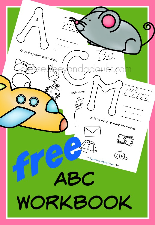 FREE abc workbook printables. These are perfect for PreK and K. Also, a great review for summer months.