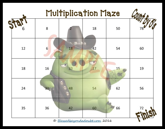 FREE Multiplication Mazes that go up to 12. These are perfect for summer practice.