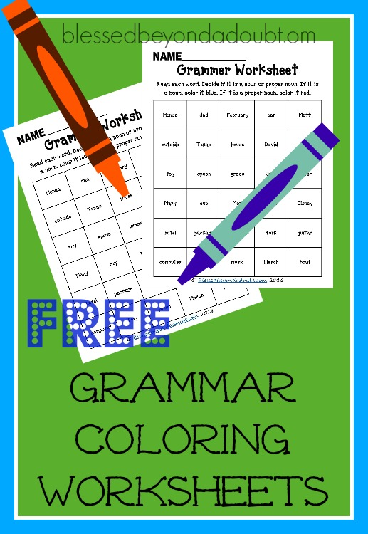 FREE grammar coloring worksheets