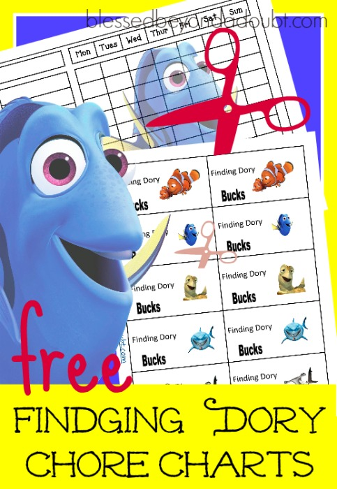 FREE Finding Dory Chore Charts with incentive bucks. Several different ones to choose from.