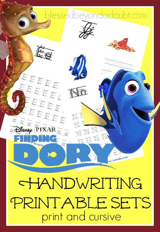 FREE Finding Dory handwriting printable packs. Pick either print or cursive.