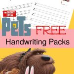 FREE The Secret Life of Pets Handwriting Printable Set – Print and Cursive Edition