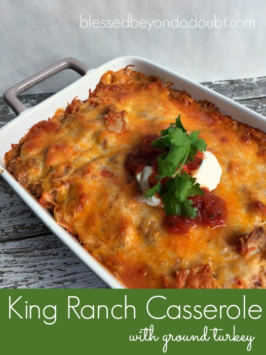 Try this easy King Ranch Casserole recipe with ground turkey. It's amazing! My kids love it, too!