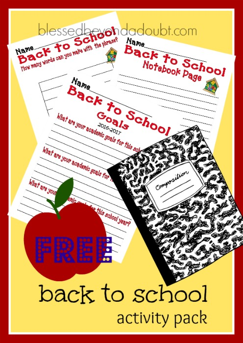 FREE back to school activity pack classrooms and homeschool families.