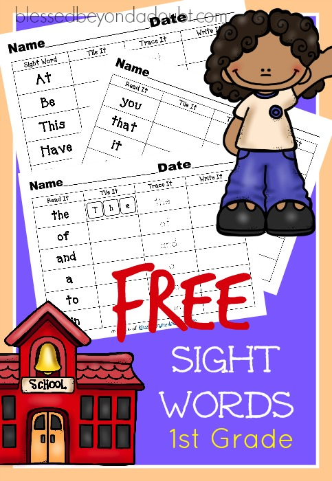 Free First Grade Sight Words Worksheets. Fun for classroom and homeschool.