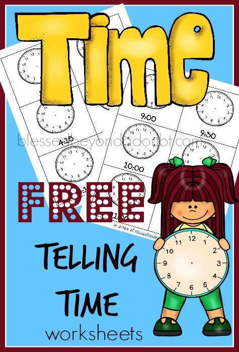 FREE telling time worksheets. I like to laminate them for more durability.
