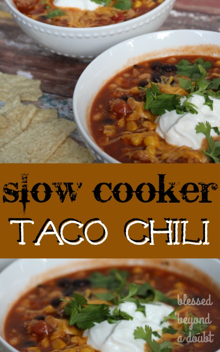 This slow cooker easy taco chili recipe is one of my favorite comfort foods in the cooler months. Check out how easy it is to throw in your slow cooker.