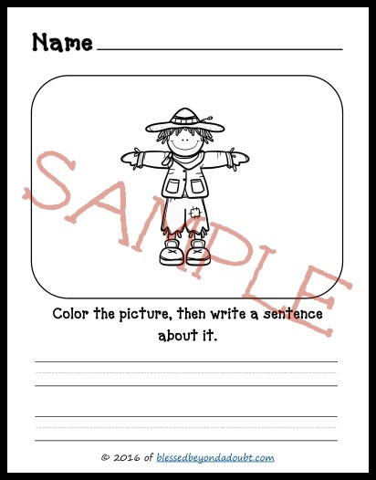 Have your student color the picture and then write a sentence about it. These are perfect for K-2nd grade.
