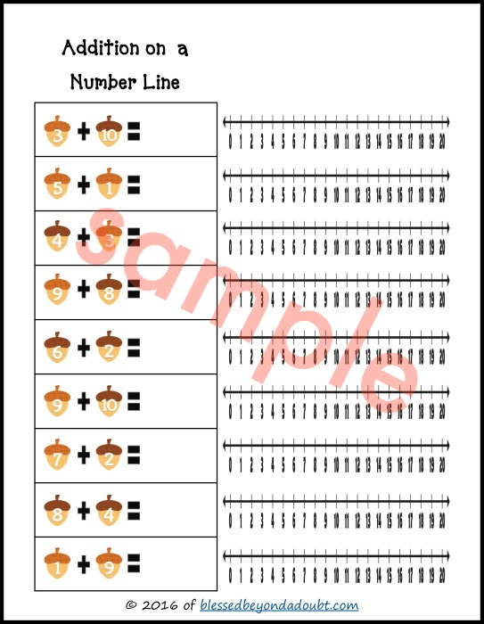 FREE Addition on a Number Line Worksheets Fall edition Blessed – Number Line Addition Worksheet