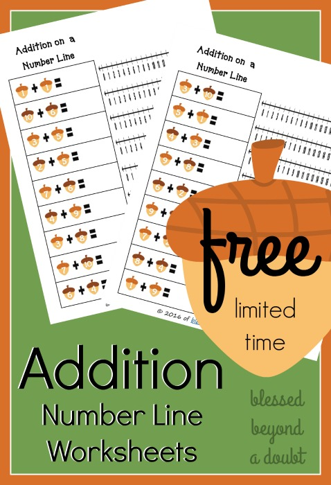 Number Line Worksheets time number line worksheets : FREE Addition on a Number Line Worksheets - Fall edition - Blessed ...