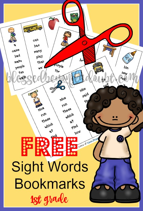 FREE sight words bookmarks for first grade.