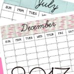 FREE 2017 Monthly Printable Calendars