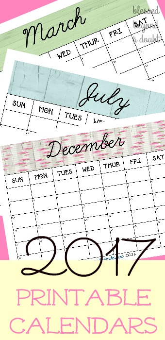 Totally free 2017 monthly printable calendars. Super cute!