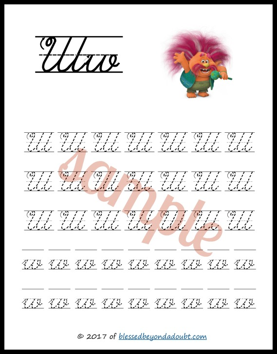 Free Trolls handwriting printable set in print and cursive editions. They are so cute!