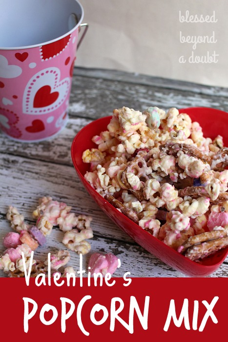 Make this so EASY Valentine's popcorn mix. It's made in the microwave.
