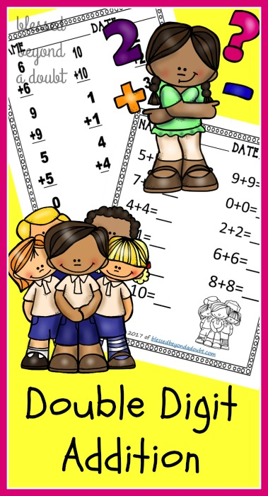 Grab these free double digit worksheets geared towards first graders.