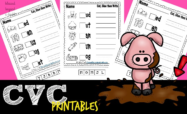 Your students will have fun learning CVC words with these free CVC word worksheets. They cut, paste, and write the words.