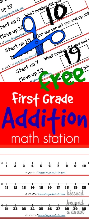 Free kindergarten and first grade addition math station station. These are perfect for school or homeschool stations.