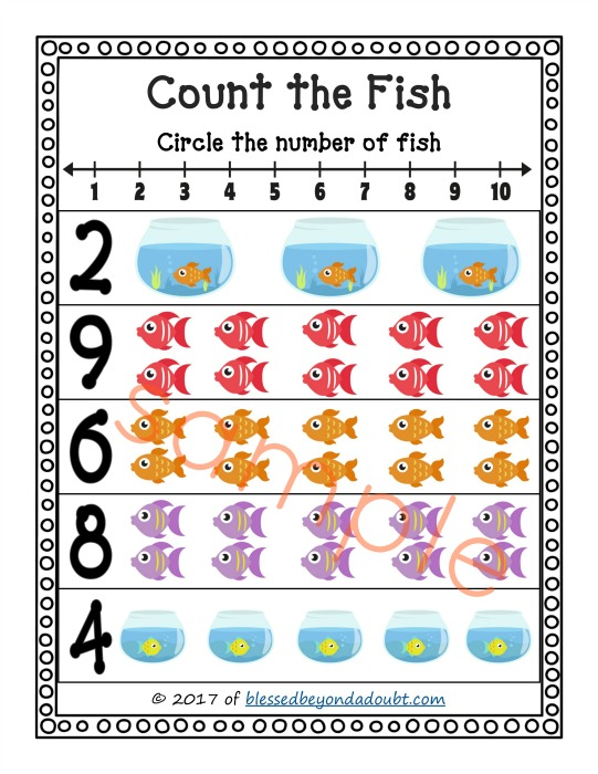 FREE Count the Fish Printables. These are perfect for math stations or a homeschool setting. PreK and K level math stations  with a cute fish theme.