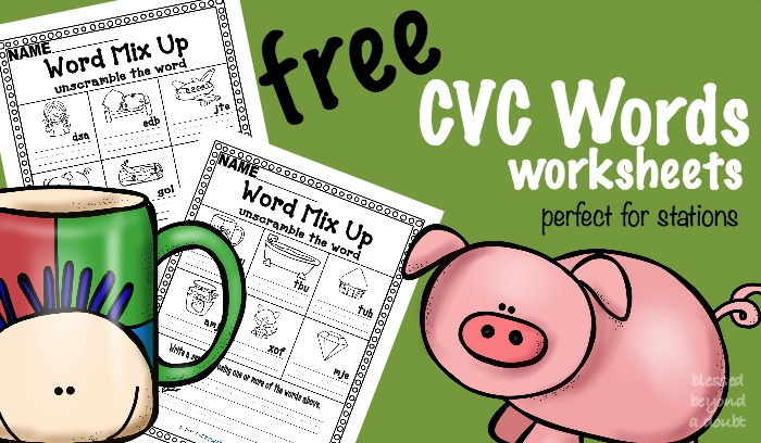 FREE CVC worksheets that are perfect for homeschool or a school setting.