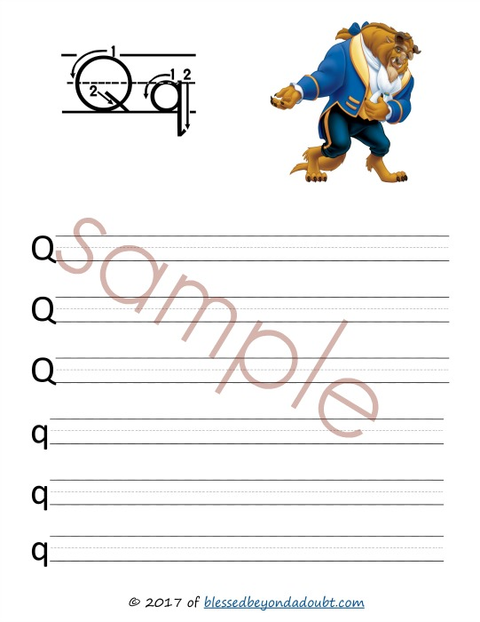 FREE Beauty and the Beast handwriting printable sets that come in print and cursive. Hurry while free!