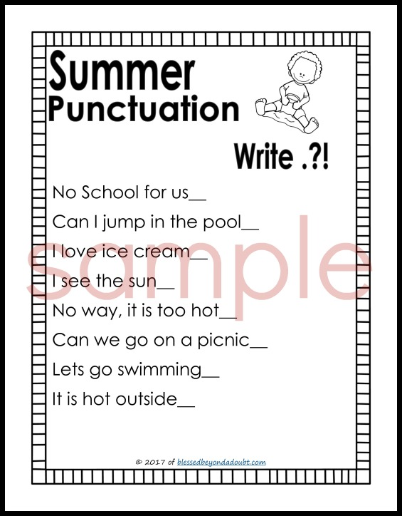 FREE Punctuation Worksheets Summer Edition Blessed Beyond A Doubt – Punctuation Worksheets