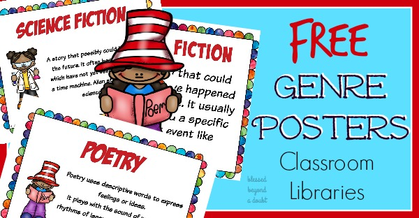 FREE Reading Genre Posters for Classroom and Homeschool Library