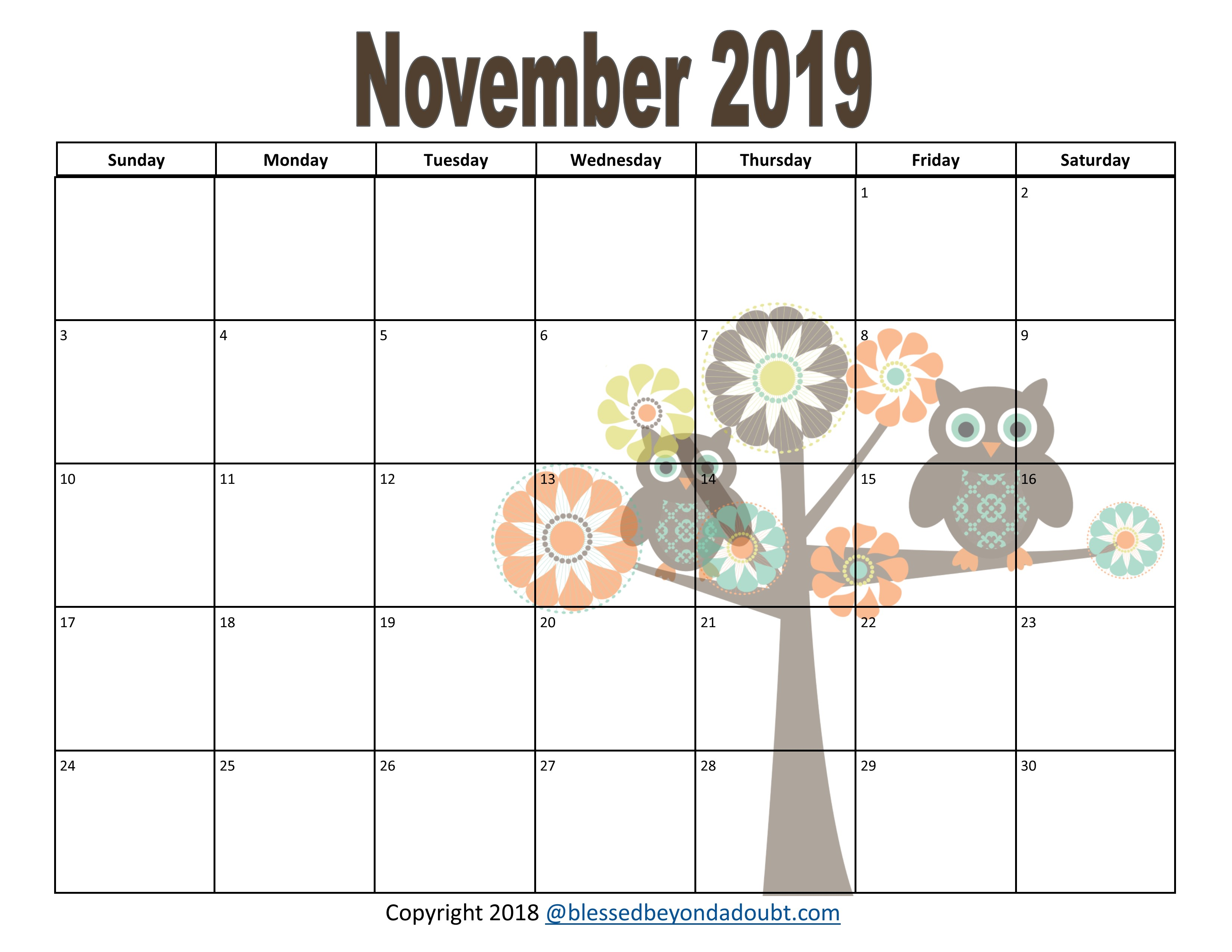 photograph regarding Printable Calendars Free named Free of charge 2019 Month to month Printable Calendars - Owl Themed - Lucky