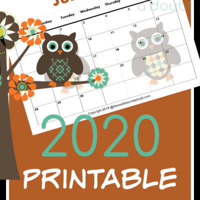 FREE 2020 Monthly Printable Calendars – Owl Themed