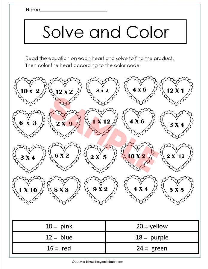 Valentine's Day Third Grade Math Worksheets - Multiplication - Blessed  Beyond A Doubt