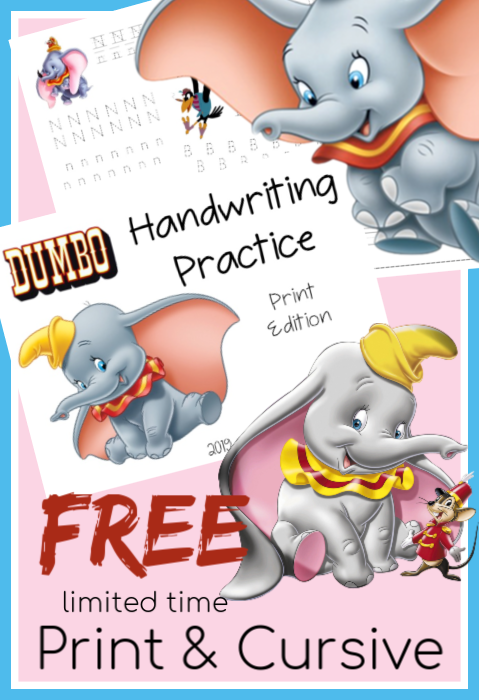 Hurry and grab these free Free Handwriting Resources - Dumbo Edition while they are free. #handwriting #worksheets