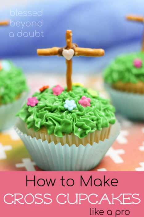 Check out how easy it is to make these pretty cross cupcakes for Easter. We made it a family tradition each Good Friday. #easter #easterrecipes #cupcakes