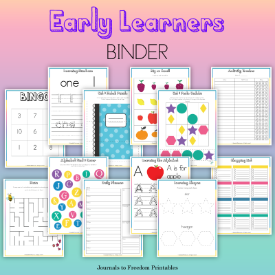 Free Printable Early Learners Binder – $27.00 value