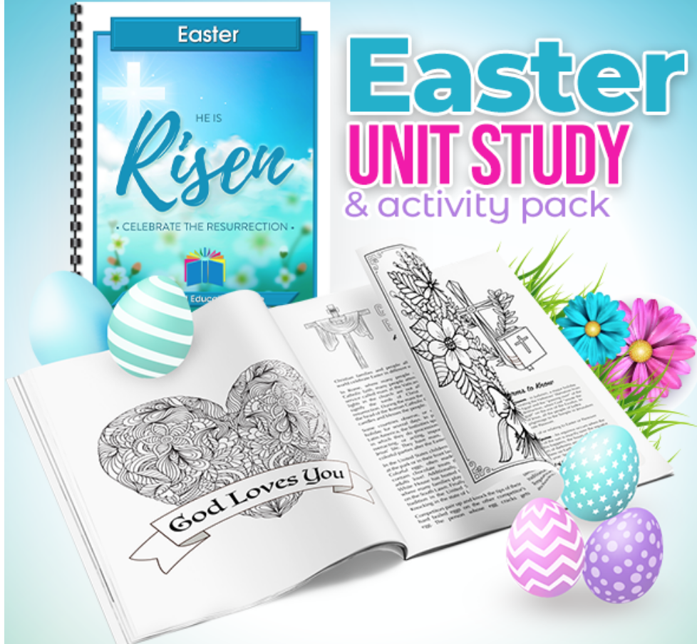 Hurry! For a limited time you can grab this Easter Unit Study for free. #freeunitstudy #freeunitstudyhomeschool #schoolclosure #easterworksheets #distancelearning #homeschool #sundayschool #distancelearningelementary