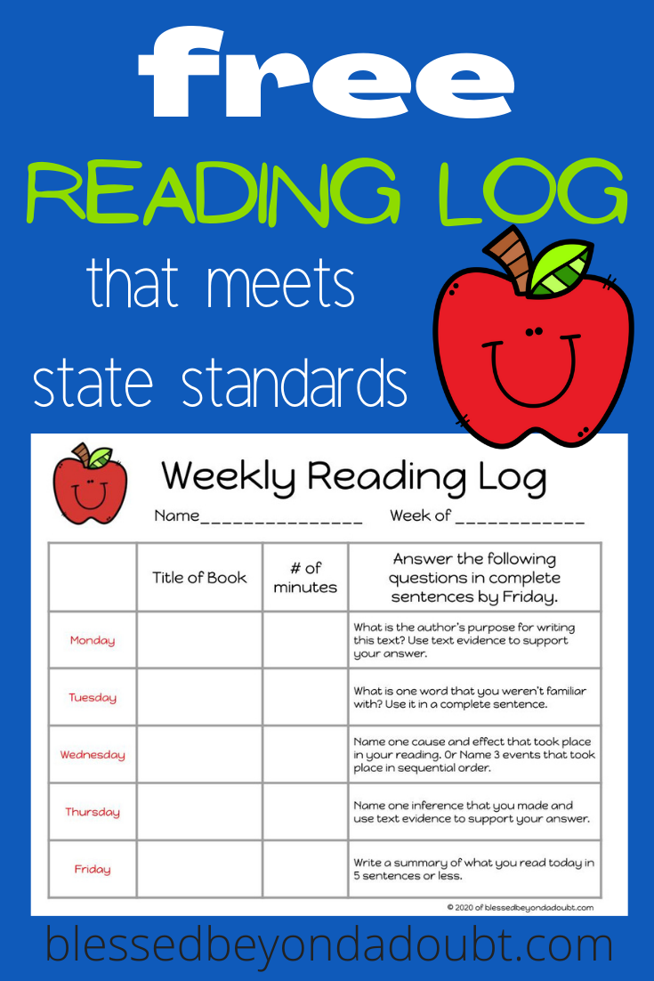 Finally! Here's a weekly reading log that requires the student's to use critical thinking skills. This reading log is lined up with state standards#readinglogsforkidsfree #printablereadinglogforkids #weeklyreadinglogprintablefree #homeschoolreadinglogprintable #freereadinglogprintables #homeschoolfreeprintables